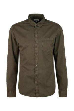 slim fit overhemd donkergroen