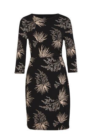 jurk met all over print zwart/beige