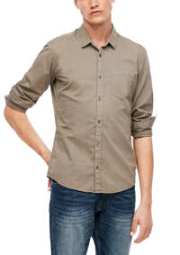 Q/S designed by slim fit overhemd taupe, Taupe