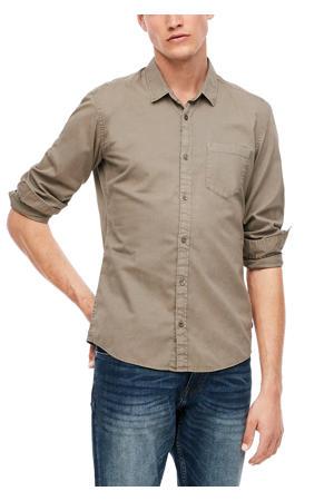 slim fit overhemd taupe
