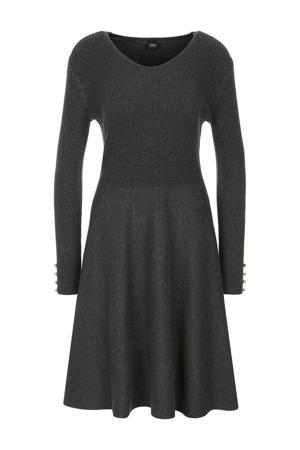 gemêleerde ribgebreide A-lijn jurk antraciet