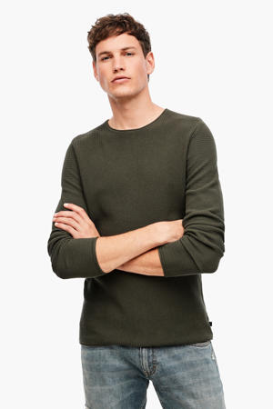 fijngebreide trui met textuur donkergroen