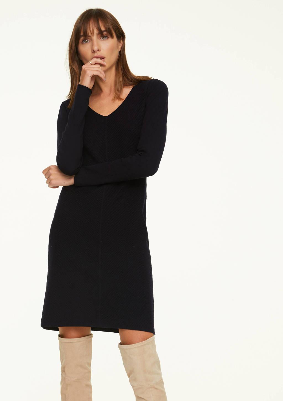 comma fijngebreide jurk met wol zwart, Zwart