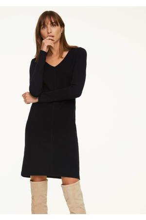 fijngebreide jurk met wol zwart