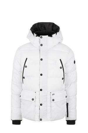 gewatteerde jas wit/zwart