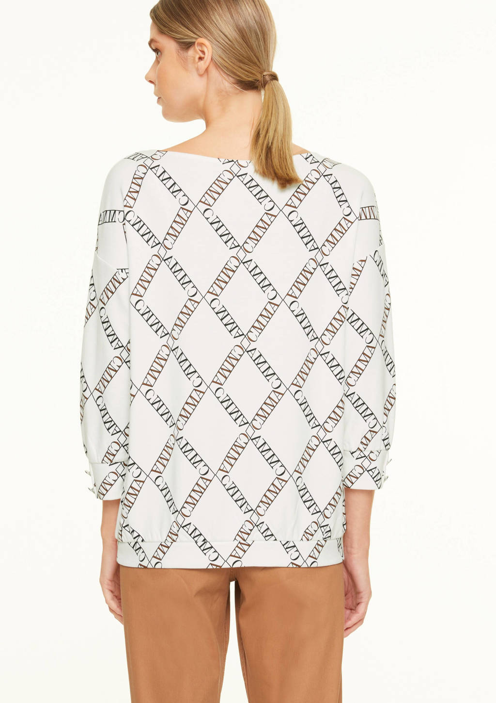 comma top met all over print wit/zwart, Wit/zwart