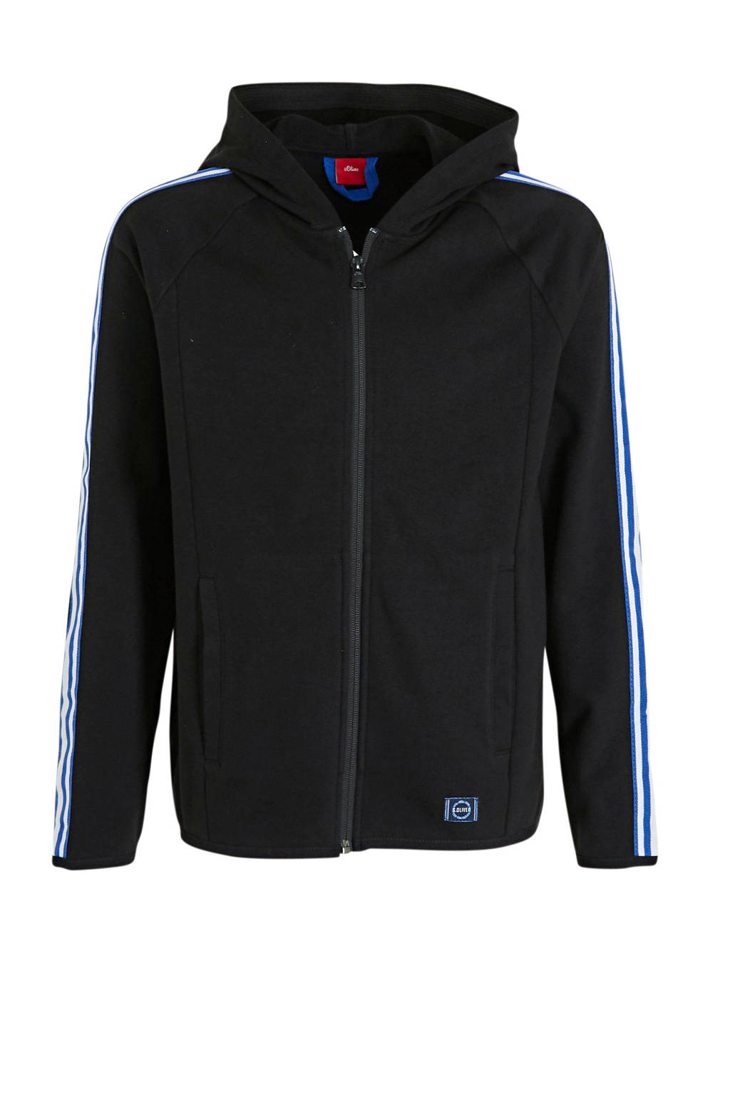 s.Oliver vest met contrastbies zwart, Zwart