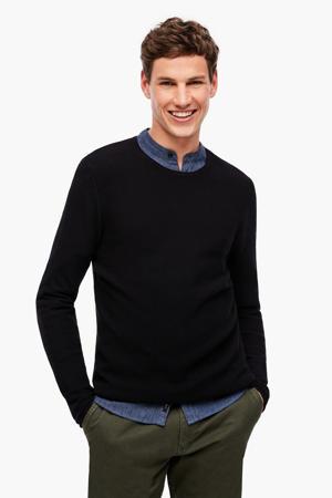 fijngebreide trui met textuur zwart
