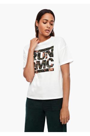 T-shirt met printopdruk wit/geel/donkergroen