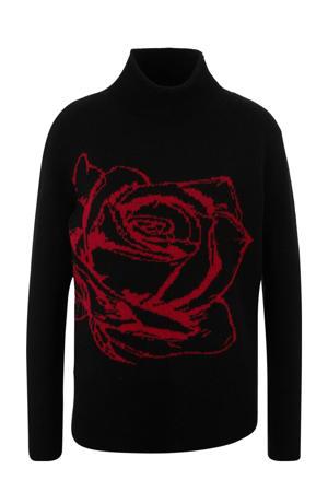 fijngebreide trui met wol en printopdruk zwart/rood