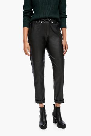 coated slim fit joggingbroek zwart
