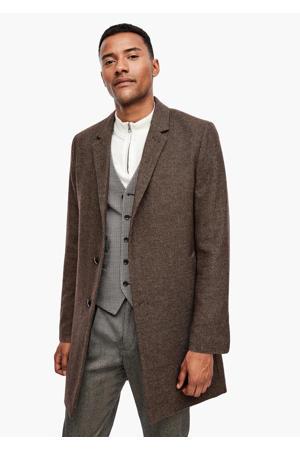 gemêleerde jas met wol beige