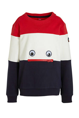sweater met patches rood/donkerblauw/wit