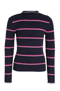 s.Oliver fijngebreide gestreepte longsleeve marine/roze/wit, Marine/roze/wit