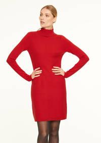 comma fijngebreide jurk met wol rood, Rood