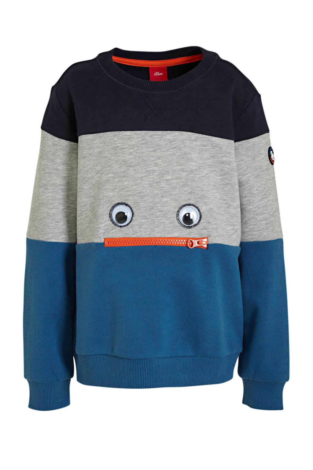 s.Oliver sweater met patches blauw/grijs/donkerblauw, Blauw/grijs/donkerblauw