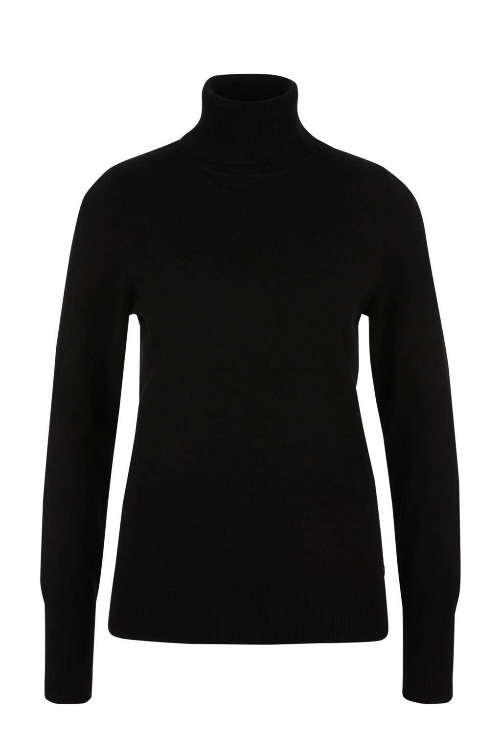 s.Oliver fijngebreide top met col zwart, Zwart