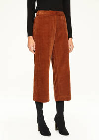 comma corduroy cropped straight fit broek cognac, Cognac