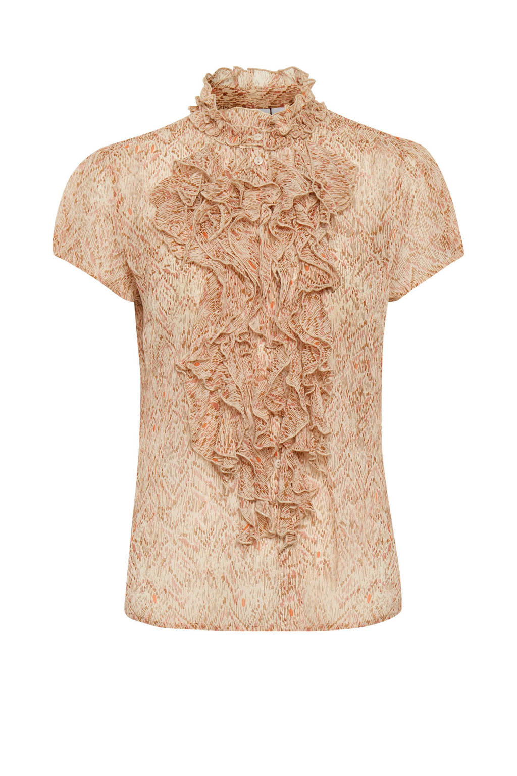 Saint Tropez top Xenya Lilly met all over print en ruches zand, Zand