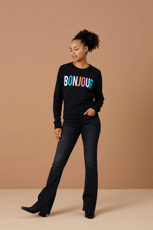sweater Bonjour met logo zwart