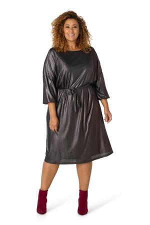 semi-transparante coated jurk donkerbruin