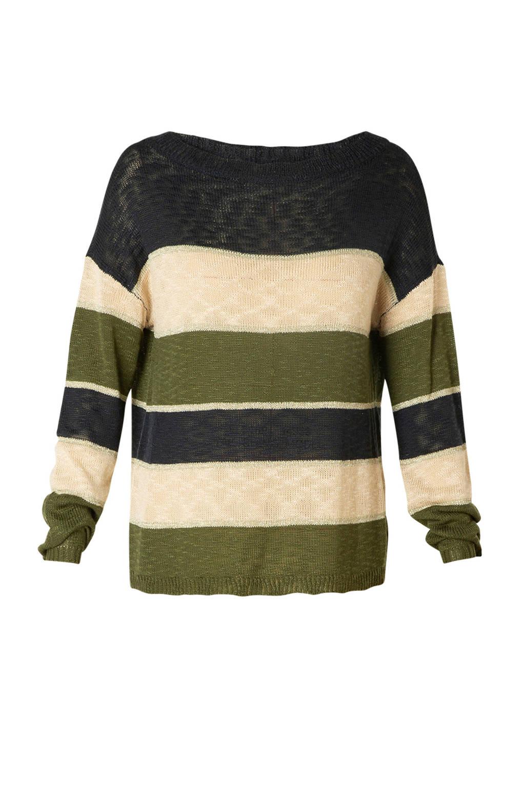 Ivy Beau gestreepte gebreide trui olijfgroen/ecru/donkerblauw, Olijfgroen/ecru/donkerblauw