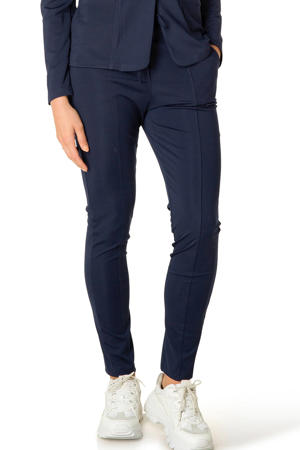 high waist skinny broek donkerblauw