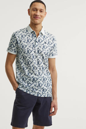 regular fit polo met all over print wit/blauw