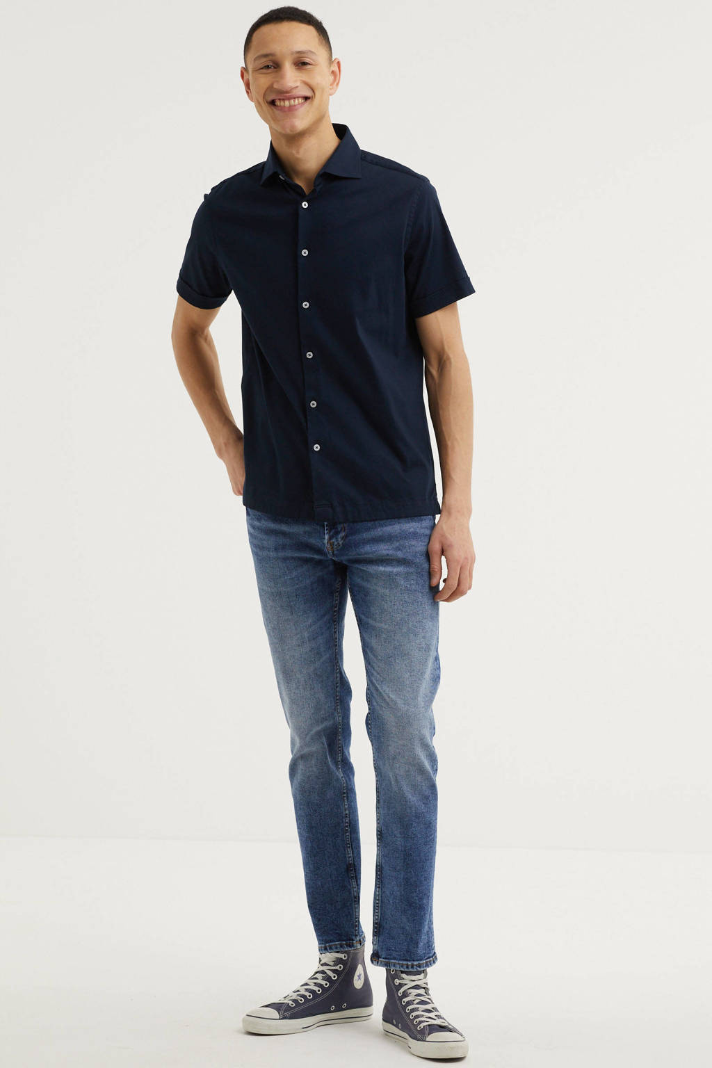 Vanguard regular fit overhemd donkerblauw, Donkerblauw