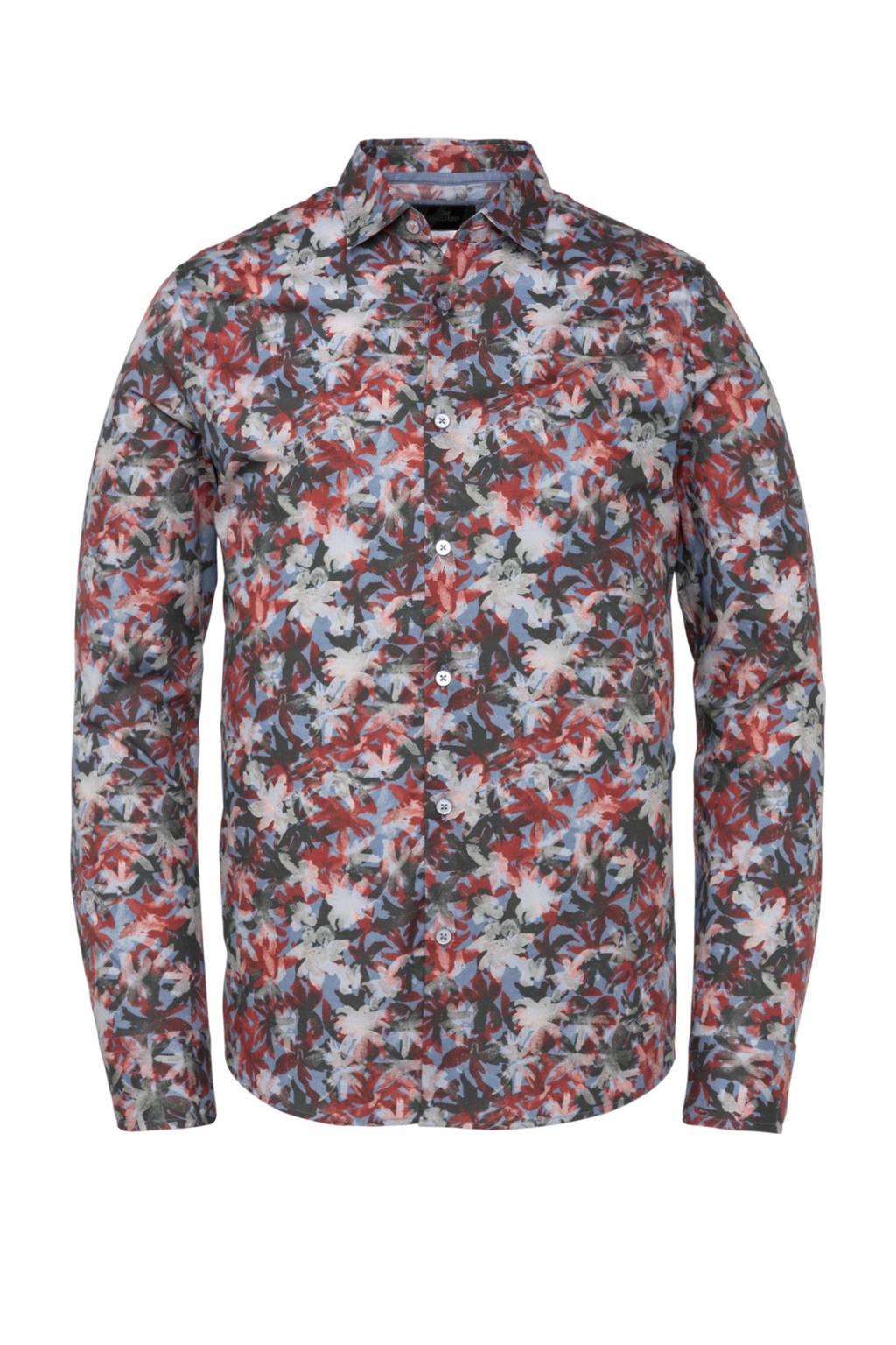 Vanguard regular fit overhemd met all over print lichtblauw/rood/kaki, Lichtblauw/rood/kaki