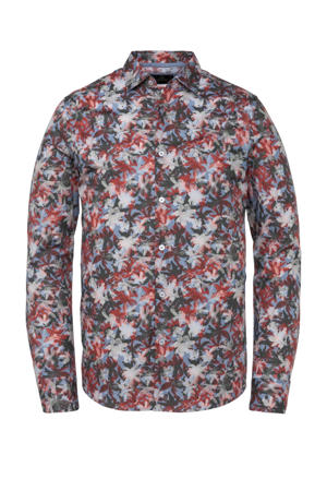 regular fit overhemd met all over print lichtblauw/rood/kaki