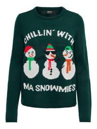 ONLY kerst trui met all over print groen, Groen