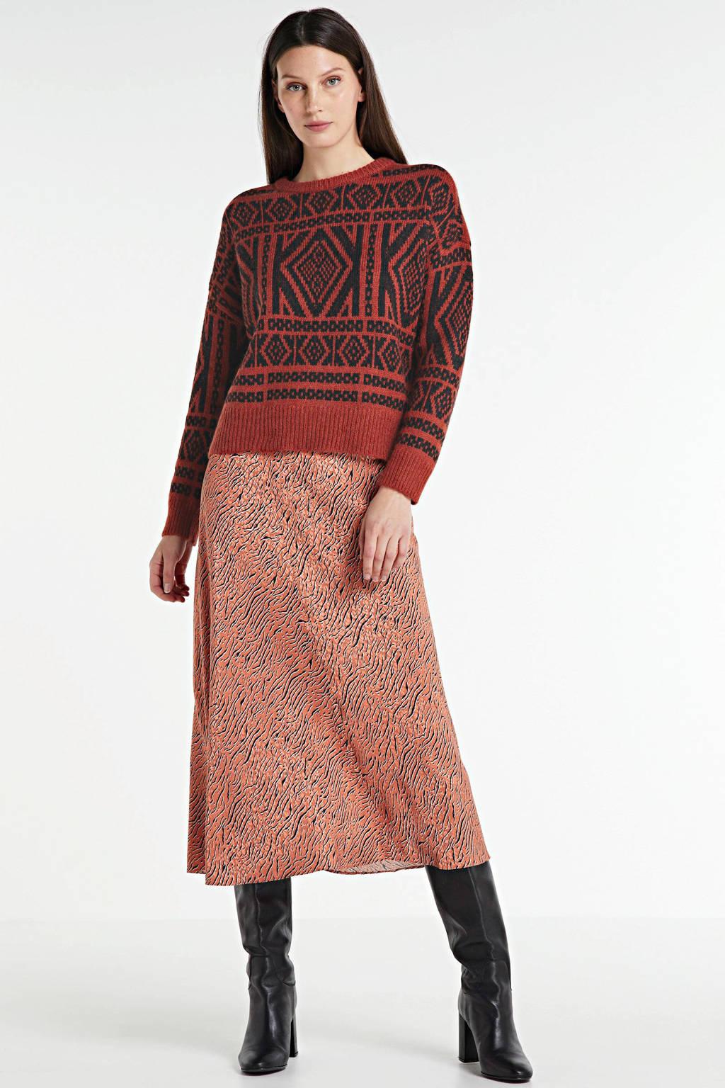 ONLY trui met grafische print rood, Rood