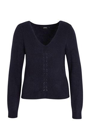 trui met printopdruk donkerblauw