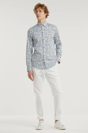 regular fit overhemd blauw/wit bruin
