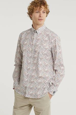 regular fit overhemd met all over print brique/wit