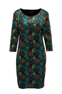 Smashed Lemon jurk met all over print blauw/bruin/donkerrood, Blauw/bruin/donkerrood