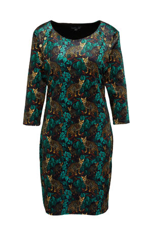 jurk met all over print blauw/bruin/donkerrood