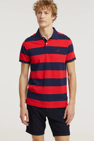 gestreepte regular fit polo rood/donkerblauw