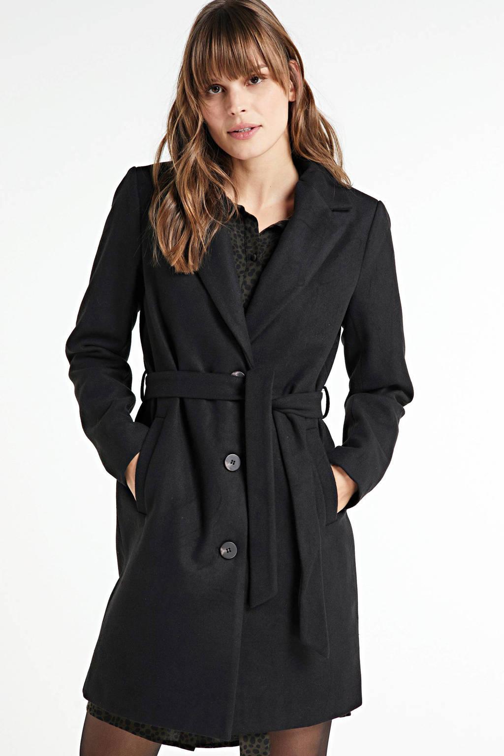 VILA coat met ceintuur zwart, Zwart