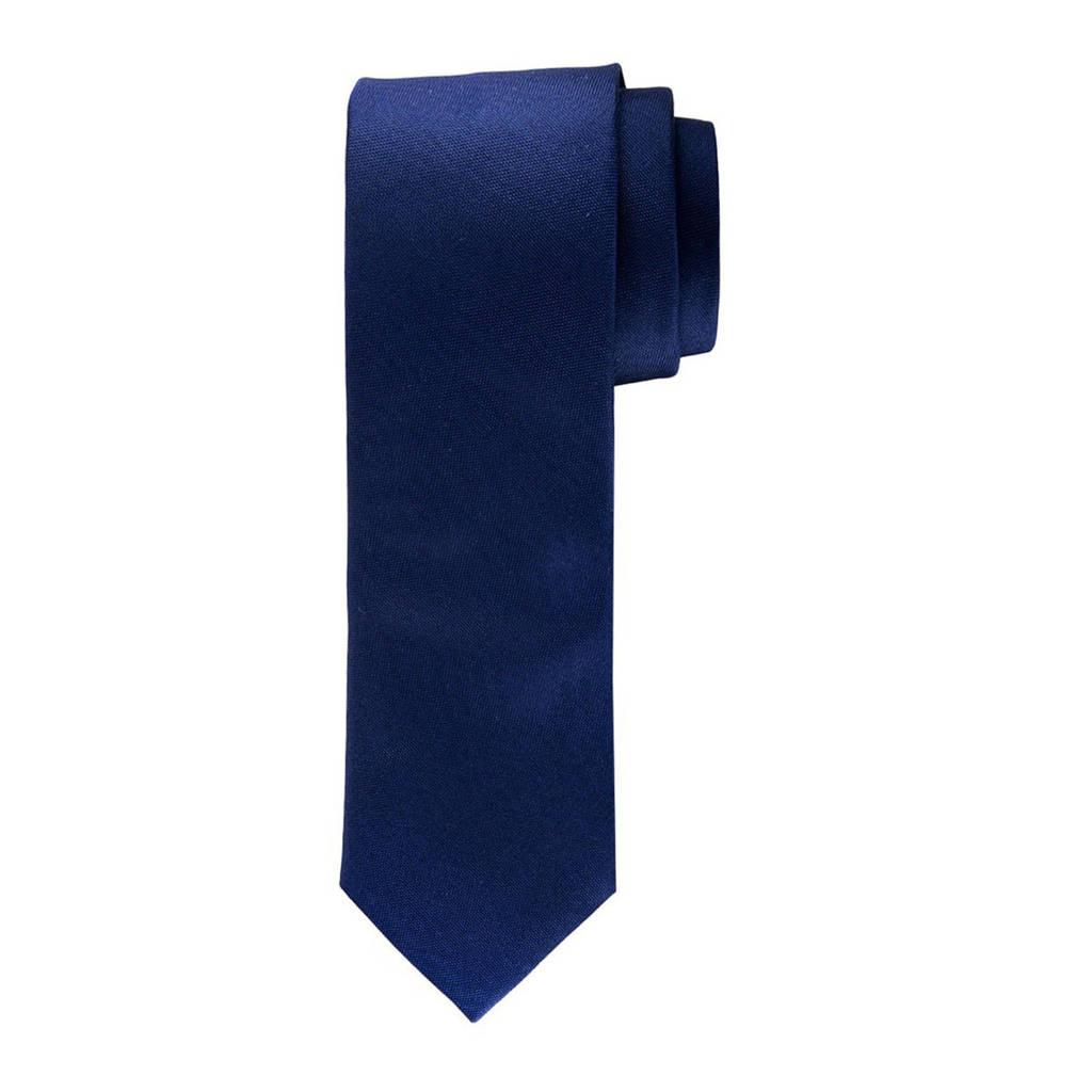Profuomo zijden stropdas marine/wit, Donkerblauw