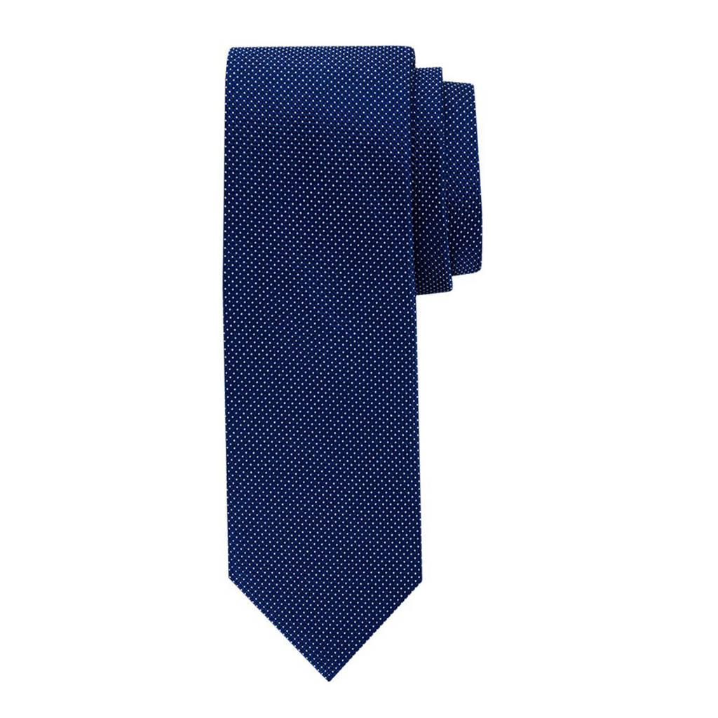 Profuomo zijden stropdas donkerblauw/wit, Donkerblauw/wit