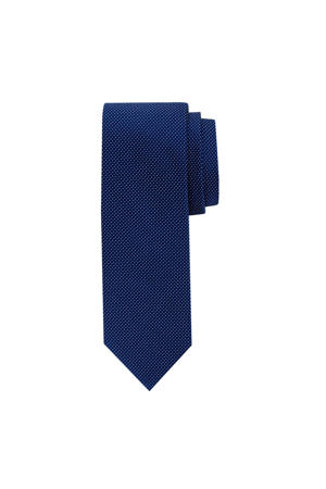 zijden stropdas donkerblauw/wit
