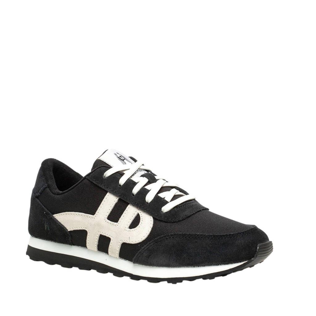 Hush Puppies   suède sneakers zwart/wit, Zwart/wit
