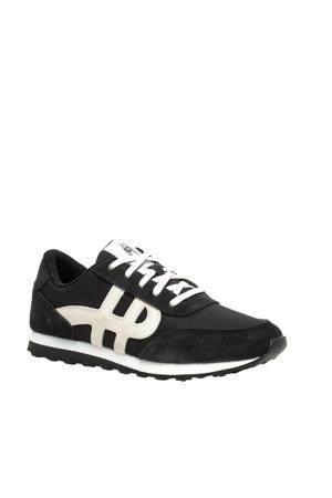 suède sneakers zwart/wit