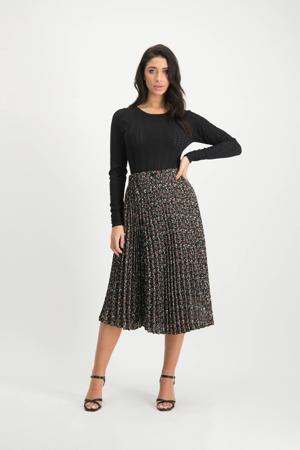 plissé rok Raya met bloemenprint zwart