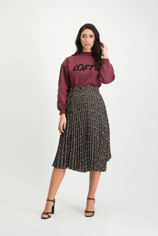 Lofty Manner sweater Elesta met tekst bordeaux, Bordeaux