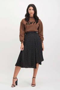 Lofty Manner sweater Elesta met tekst bruin, Bruin