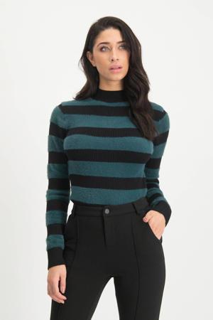 gestreepte ribgebreide trui Betty groen/zwart