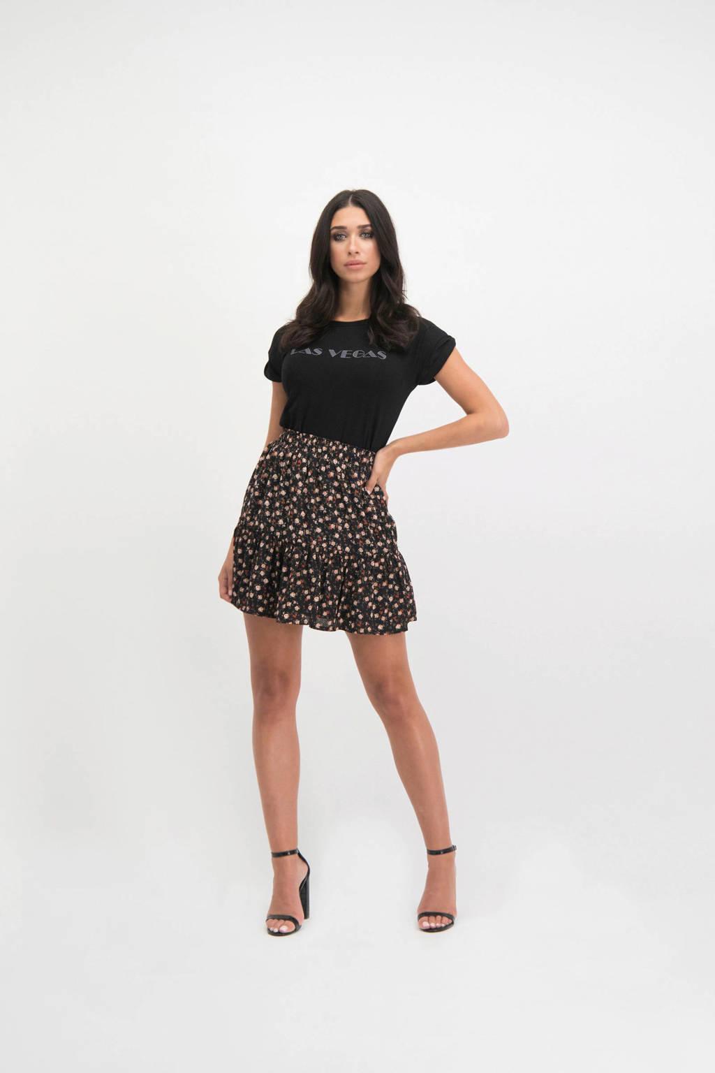 Lofty Manner gebloemde rok Myrta zwart, Zwart